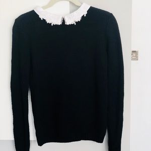 ASOS Black Knit Sweater with White Collar